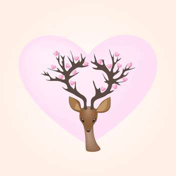 Vector illustration of deer and hearts - vector gratuit #128565