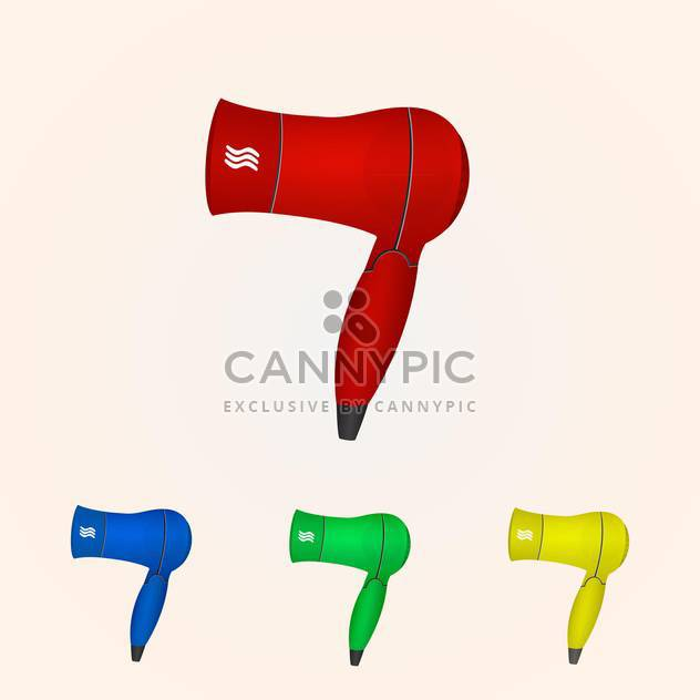 Vector illustration of hair dryer collection - Free vector #128585