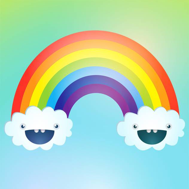 Vector symbol of rainbow and clouds in the sky - vector gratuit #128595