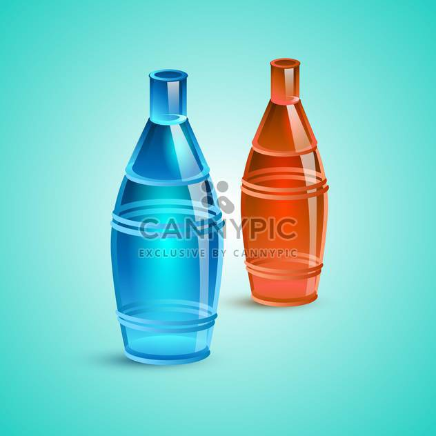 Vector illustration of empty red and blue bottles - Free vector #128615