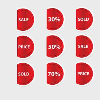 Vector set of red discount labels - vector gratuit #128625