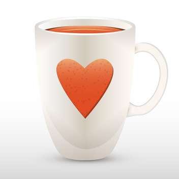 Vector illustration of cup of tea with heart. - vector gratuit #128635