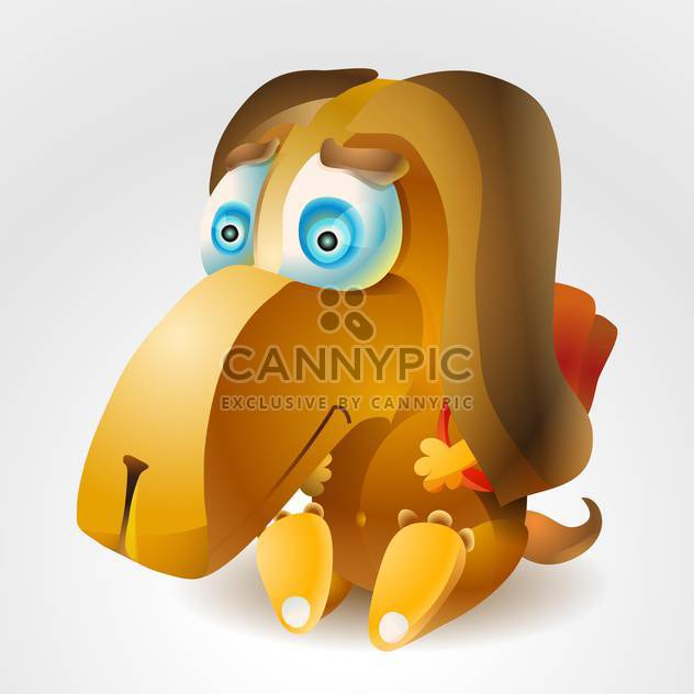 A vector illustration of cartoon dog with backpack. - Free vector #128735