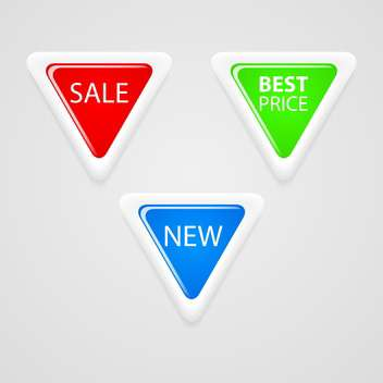 Vector set of colorful triangle buttons with sale text - vector gratuit #128765