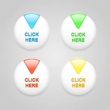Vector set of white buttons with colorful sectors - Free vector #128845