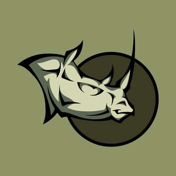 Vector illustration of a angry rhino head - Free vector #128865