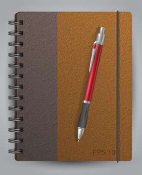Vector illustration of diary with classic pen - vector gratuit #128915