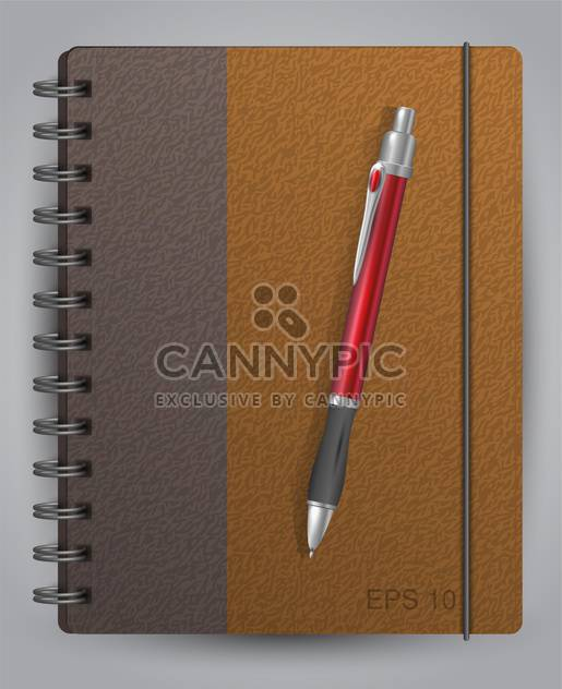 Vector illustration of diary with classic pen - Free vector #128915
