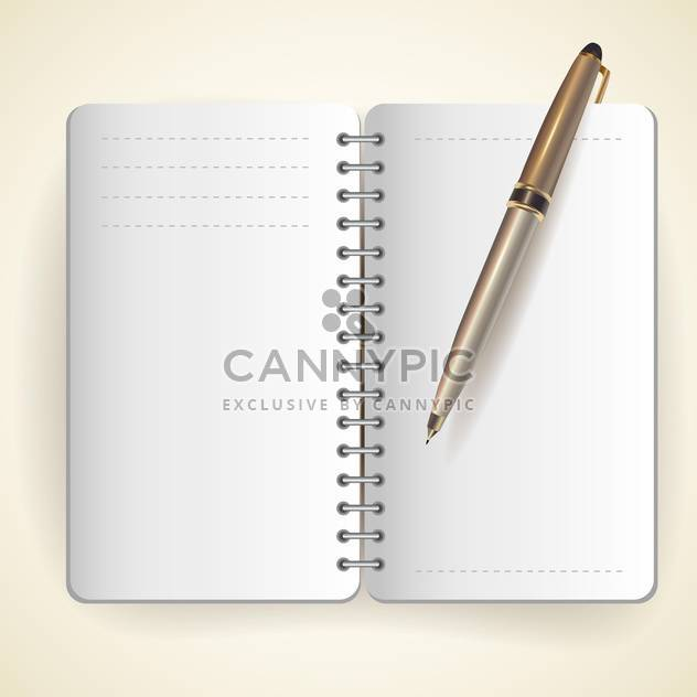 Vector illustration of notepad and ball pen - Free vector #128945