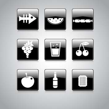 Vector set of food icons on square black and white buttons - vector gratuit #128955