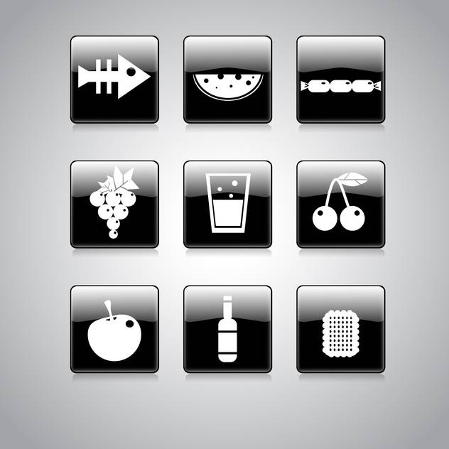 Vector set of food icons on square black and white buttons - бесплатный vector #128955
