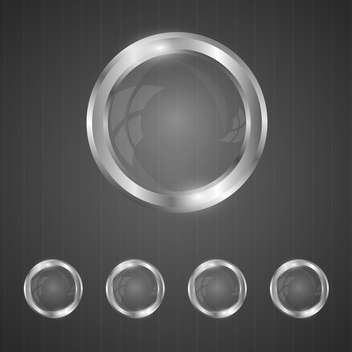 glass silver buttons set - vector gratuit #128995