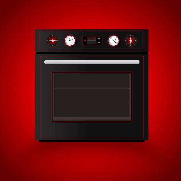 Kitchen vector oven on red background - vector gratuit #129175