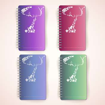 set of notepads with female face silhouettes - vector gratuit #129205