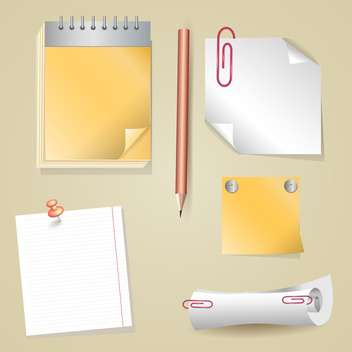 Illustration of pencil, sticker, scroll, notepad - vector #129245 gratis