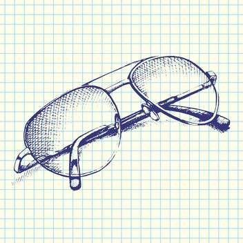 Vector hand-drawn illustration of sunglasses on checkered paper background - бесплатный vector #129305