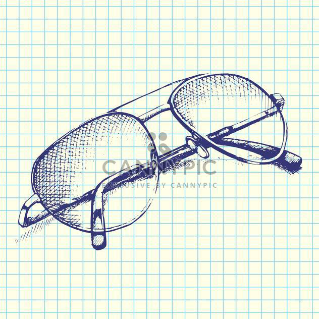 Vector hand-drawn illustration of sunglasses on checkered paper background - Free vector #129305