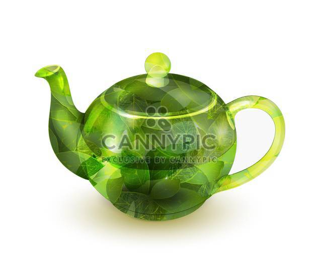 Vector illustration of glass teapot with green tea isolated on white background - Free vector #129335