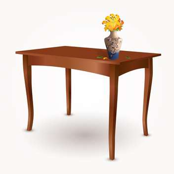Veclor illustration of wooden table with vase of flowers - Free vector #129365