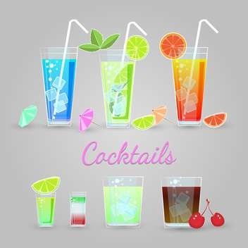 Vector set of cocktails on gray background - Free vector #129425