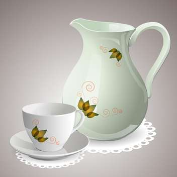Vector illustration of empty cup with carafe - vector gratuit #129525