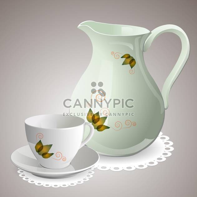 Vector illustration of empty cup with carafe - Free vector #129525