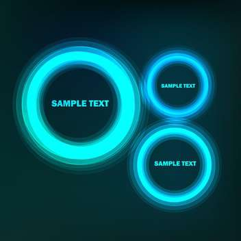 Vector set of blue web design bubbles on black background - vector gratuit #129535