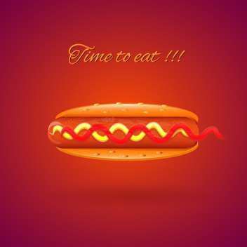 Classic American hot dog fast food with sausage, mustard and ketchup on red background - vector gratuit #129585