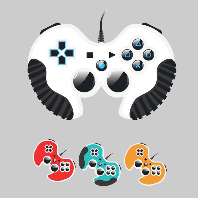 Vector set of colorful gamepads on gray background - бесплатный vector #129625