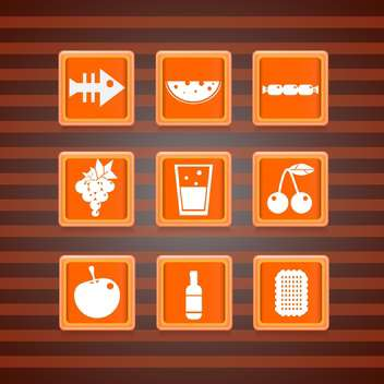 Vector set of orange food icons on square buttons collection - Free vector #129675