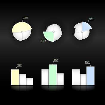 vector set of diagrams and pie charts on black background - Free vector #129695