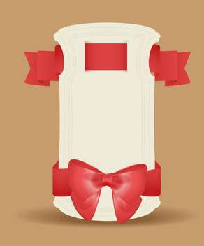 Vector gift card with red ribbon and bow on brown background - vector #129705 gratis