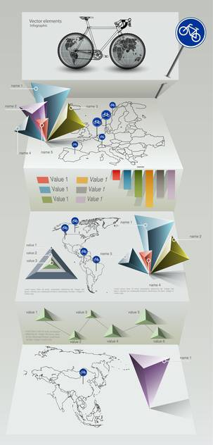 Vector paper origami infographic elements - vector gratuit #129725