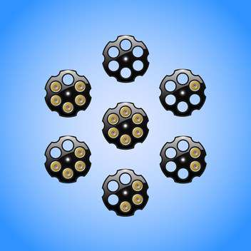 Set of loading revolver images on blue background - vector #129775 gratis