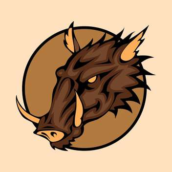 Vector illustration of wild boar head inside circle on orange background - Free vector #129795