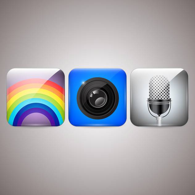 Vector icons set of microphone, camera, rainbow - бесплатный vector #129835