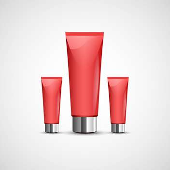 Vector illustration of red clean tubes of cream on gray background - Free vector #129845