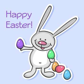 Vector illustration of Easter bunny with colorful eggs on purple background - vector gratuit #129905