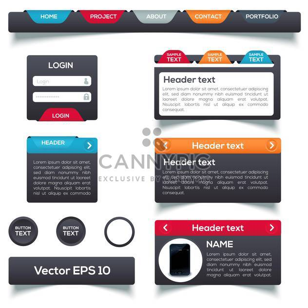 Vector set of web menu colorful elements - Free vector #129915