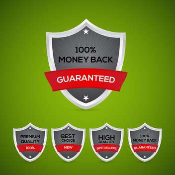 Guarantee shields emblems on green background - vector gratuit #129925