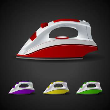 Vector set of steam irons on black background - vector #129945 gratis