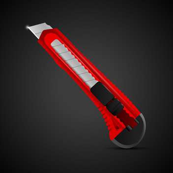 Vector illustration of a red stationery knife on black background - vector gratuit #129955