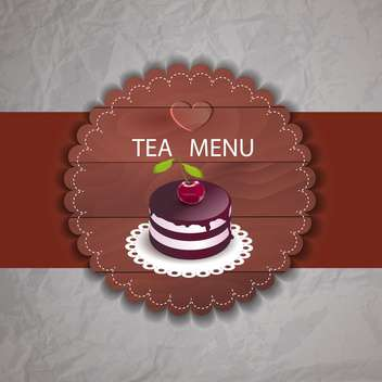 Tea menu with cherry cupcake in retro style - vector gratuit #130005