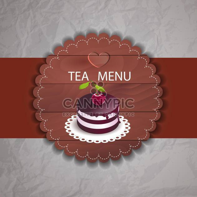 Tea menu with cherry cupcake in retro style - Free vector #130005