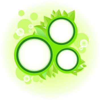 Round frames with green leaves and bubbles - vector gratuit #130045