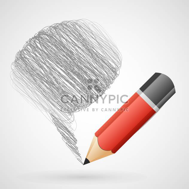 Vector illustration of speech bubble with pencil - Free vector #130085