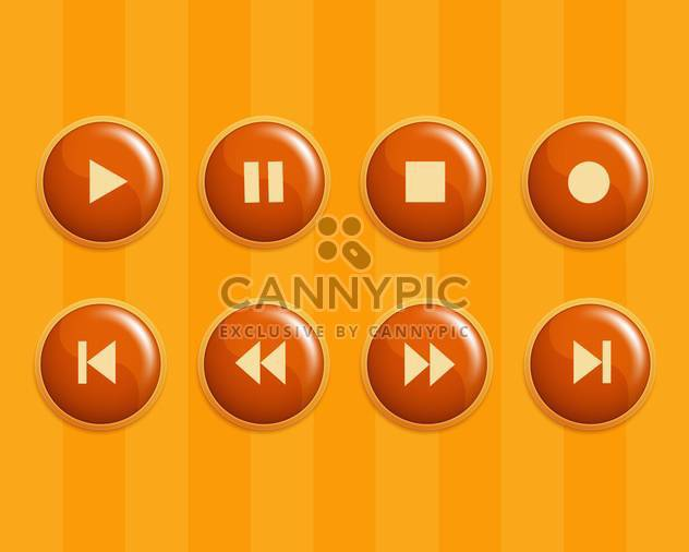 Vektor-Set orange Media Tasten - Kostenloses vector #130095
