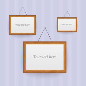 Vector set of wooden frames on the wall - vector gratuit #130155