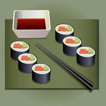 Vector illustration of Japanese food roll set - Free vector #130175