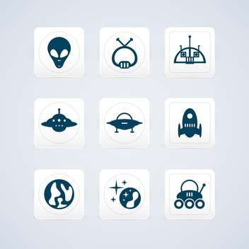Space and UFO vector icons set - vector gratuit #130185